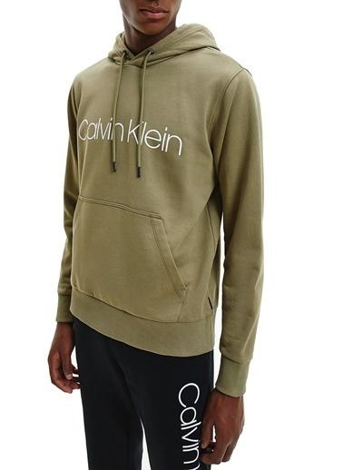 Calvin Klein  % 100 Pamuklu Kapüşonlu Kanguru Cepli Sweat Erkek Sweat K10K107033 Mss Yeşil